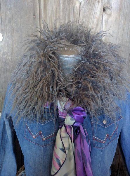 faux fur wild rag ruff - gray