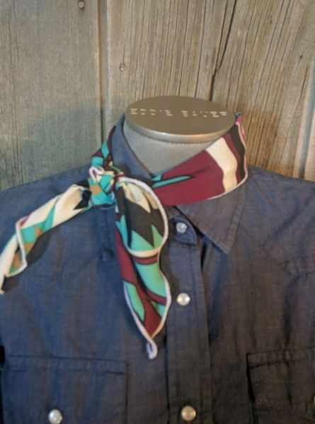 Roy Rogers scarf - maroon, white, black, tan, teal print