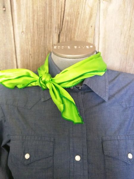 Roy Rogers or show scarf - lime green with green edge