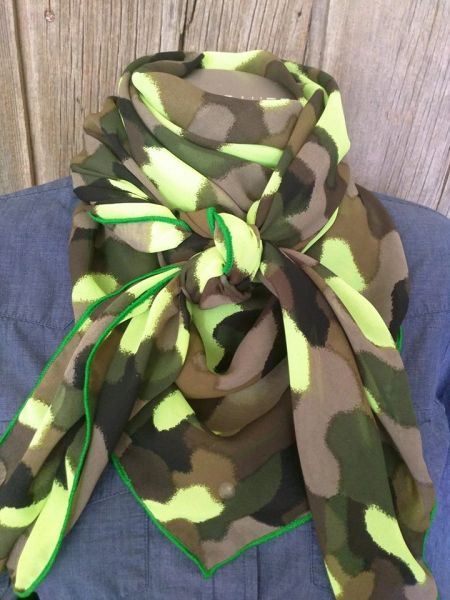 42x42 Camo print green,lime green browns, and teal wild rag