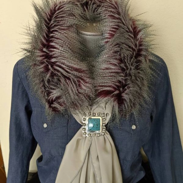 Faux fur wild rag ruff deep purple under tone and cream and gray on top