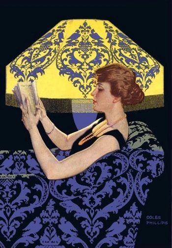 'Deep in Prose' Vintage Reading Illustration Greeting Card. Clarence Cole Phillips