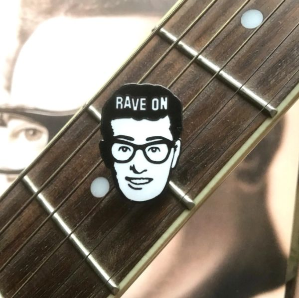 Buddy Holly Enamel Pin Badge. Seriously Smart Black Metal Pin. Rock n Roll Icon