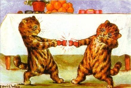 'Christmas Crackers' Vintage Louis Wain Cat Greeting Card Repro.