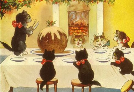 Pack of 10. 'The Enormous Christmas Pudding' Vintage Black Cat Greeting Card Repro.