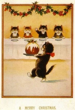 Pack of 10 Bringing in the Christmas Pudding Vintage Black Cat Greeting Card Repro