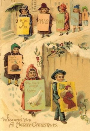 Pack of 10. 'The Christmas Parade' Traditional Victorian Christmas Card Repro