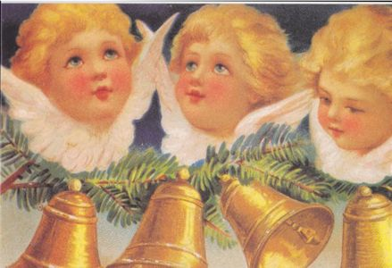 Pack of 10 'Christmas Bells' Traditional Victorian Christmas Card Repro