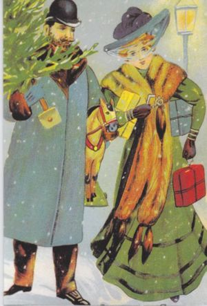 Pack of 10 'Christmas Shopping' Traditional Victorian Christmas Card Repro