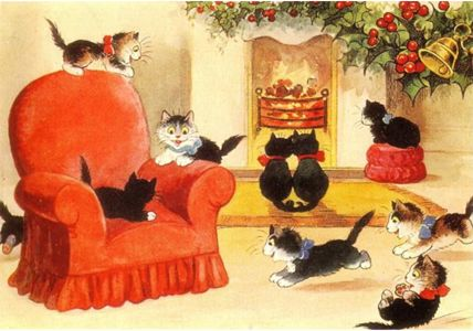Pack of 10 'A Cheery Christmas' Vintage Black Cat Greeting Card Repro.