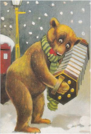 'The Accordion Player' Vintage Bear Christmas Card Repro.