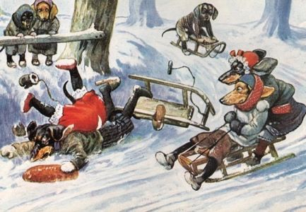 The Great Dachshund Disaster! Fun Vintage Christmas Card Repro