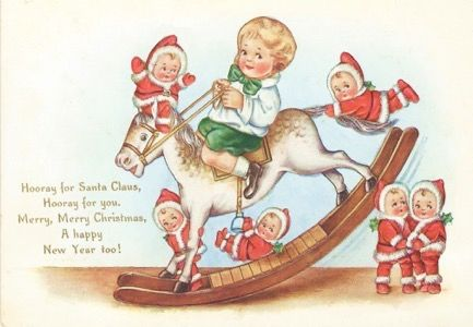 A Rocking Christmas. Fun and Unusual Vintage Holiday Card with Rocking Horse and Imps.