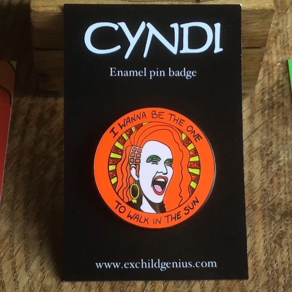 Cyndi Lauper Enamel Pin Badge. Fantastic Full Colour Glitter Pin.