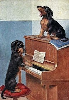 'Once More With Feeling' Adorable Vintage Dachshund Illustration Greeting Card