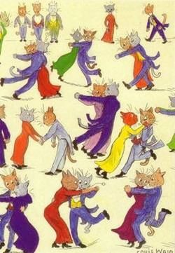 Fun Ballroom Dancing Louis Wain Illustration Greeting Card. Perfect for Strictly Fans.