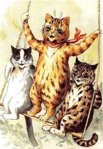 The Swing. Louis Wain Cat Illustration Greeting Card.