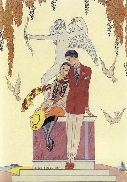 'Autumn' Stunning Art Deco Barbier Illustration Greeting Card