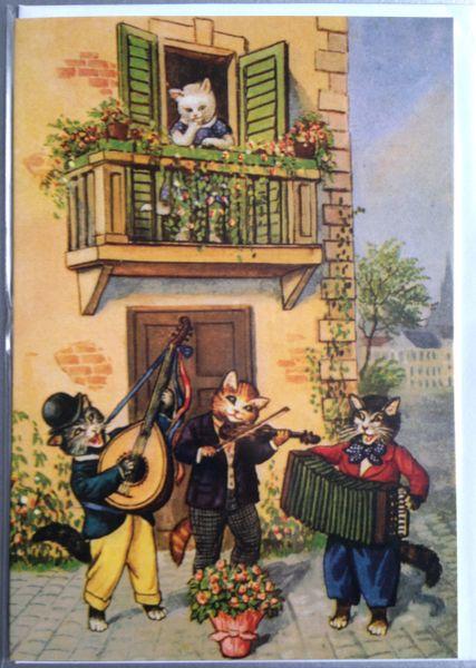 'The Serenade' Romantic Illustration of Musician Cats