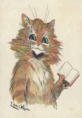 'Recommended Reading ' Vintage Louis Wain Illustration of a Cat Reading Greeting Card