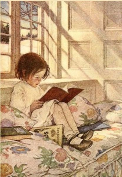 'Picture Books in Winter' Jessie Willcox Smith Illustration Greeting Card