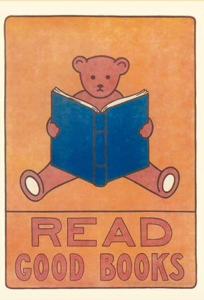 'Read Good Books' Vintage Illustration Greeting Card