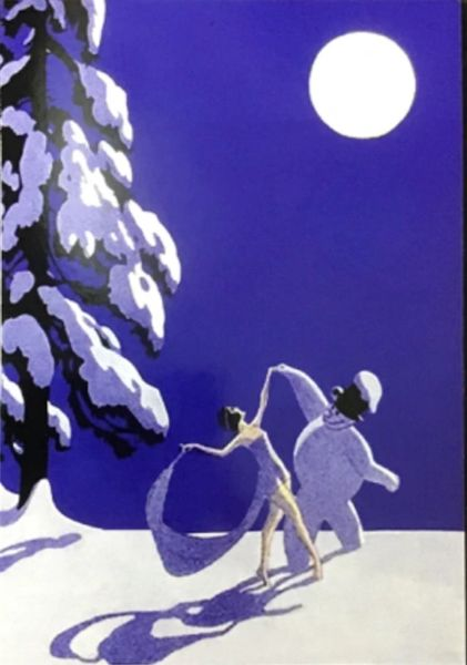 'Dancing in the Moonlight' Romantic Art Deco Christmas Card. Beautiful Scene.