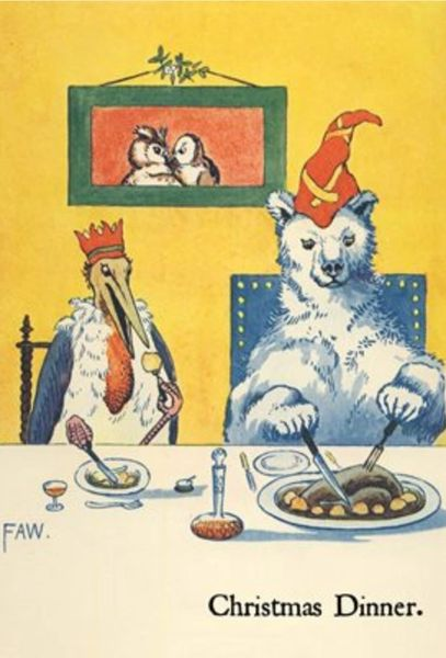 'Christmas Dinner' Polar Bear and Pelican Christmas Card! Brilliant and Strange.