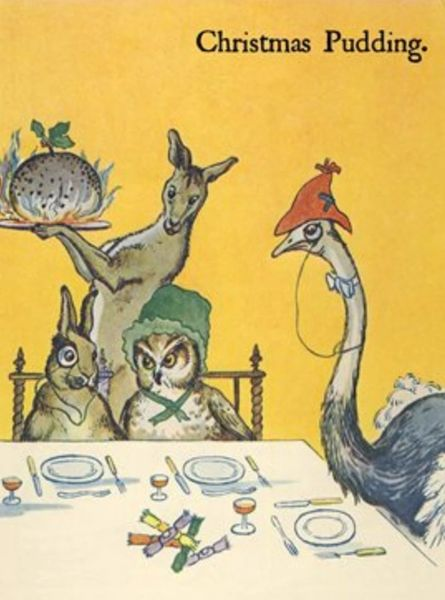 'Christmas Pudding' Kangaroo, Ostrich, Owl and Hare Christmas Card! Fun and uNusual.