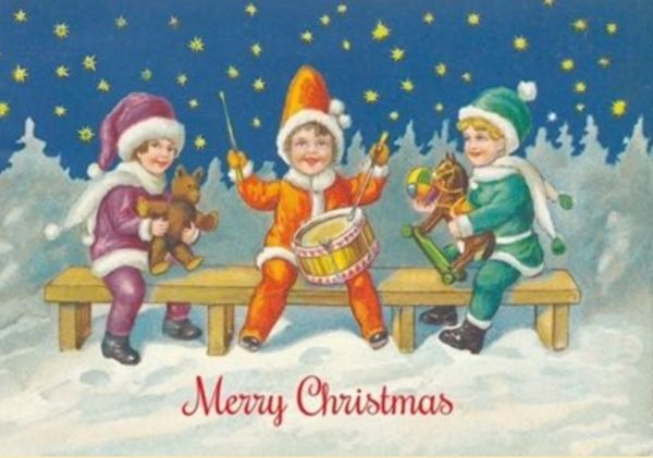 Little Drummers Vintage Illustration Christmas Card. Joyous and Bright. Starry Night.
