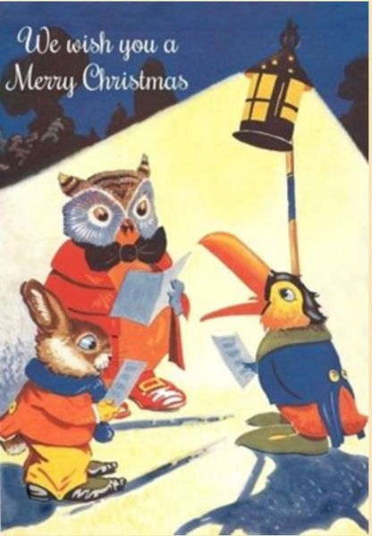 Toucan, Owl and Bunny Christmas Card. We Wish You a Merry Christmas!