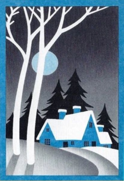 Winter Evening Christmas Card. Very Nice Moonlit Graphic
