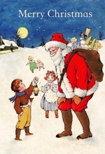 Pack of 5. 'Meeting Santa' Lovely Vintage Illustration Christmas Card