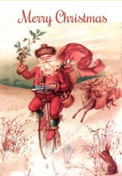 Santa on a Bike!!! Fantastic Father Christmas Illustration Christmas Card!