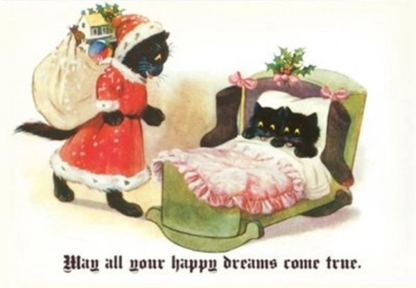 'May All Your Happy Dreams Come True' Black Cat Christmas Card.