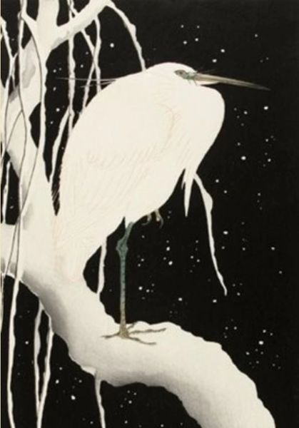 Stunning Japanese Woodcut of an Egret Christmas Card.
