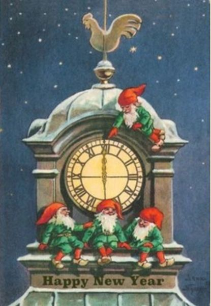 Happy New Year Vintage Illustration Christmas Card.