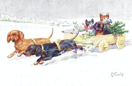 Special Delivery! Super-sweet Vintage Dachshund Christmas Card