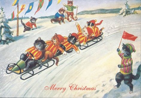 The Bobsleigh Vintage Cat Illustration Christmas Card.