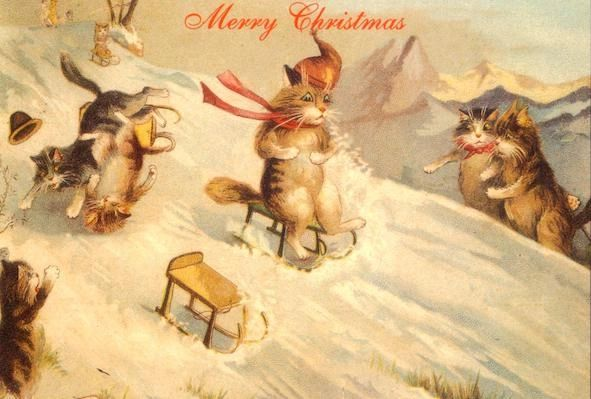 An Upset in the Snow! Vintage Cats Sledging Illustration Christmas Card.