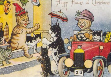'Happy Hours at Christmas' A Really Happy Vintage Cat Card Repro.