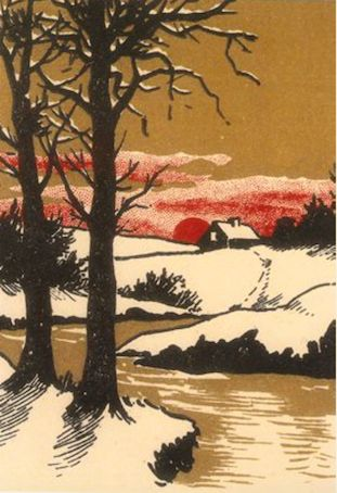 Snowy Landscape at Dusk. Vintage Woodcut Print Illustration Christmas Card.