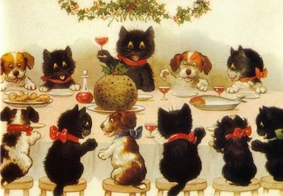 'A Christmas Toast' A Heartwarming Vintage Illustration of Cats and Dogs Together