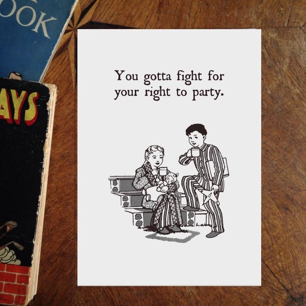 You Gotta Fight For Your Right To Party. Art Print of Vintage Book Illustration with Beastie Boys Lyrics.