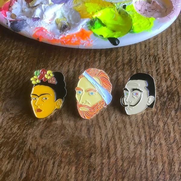 Set of 3 Art Enamel Pins. Van Gogh, Frida Kahlo and Salvador Dali.
