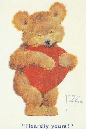 Vintage Valentine Teddy Bear Illustration Greeting Card 'Heartily Yours'