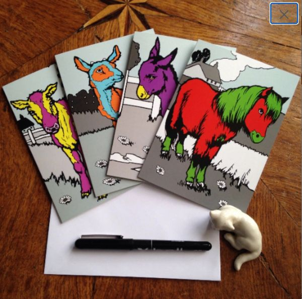 Pack of 4 Colourful Farmyard Cards. Goat Pony Donkey Calf. Lovely!
