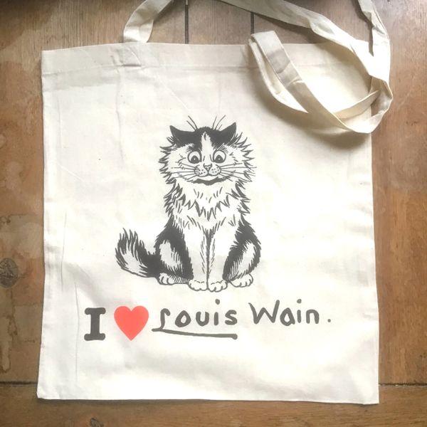 I Love Louis Wain Tote Bag. 100% Cotton Screenprinted Shopping Bag.