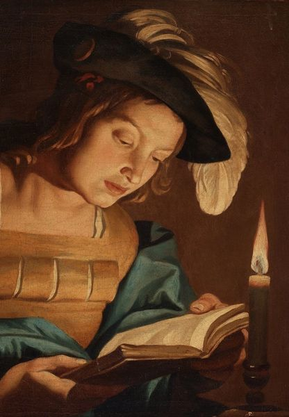 'Reading by Candlelight' Classic Art Greeting Card