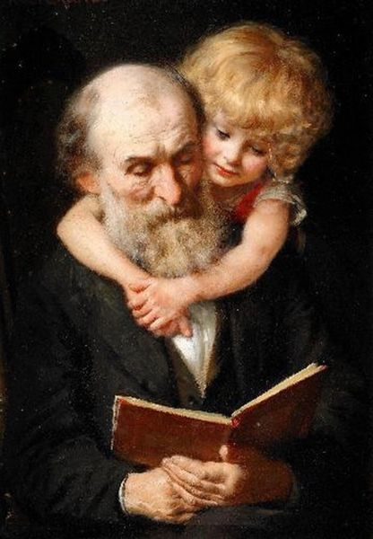 'Story Time' Classic Art Greeting Card of Grandfather and Grandchild or Father and Child.